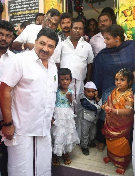 MLA P.T.R. Palanivel Thiagarajan inaugurating an anganwadi in Madurai on Thursday.